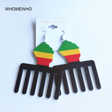 Tribal Unfinished Painting Wood Hollow Out Africa Map Hair Brush Comb Drop Earring Retro Handmade Wooden African Hiphop Jewelry unfinished wood printing africa girl round drop earrings wooden african hiphop tribal handmade diy jewelry natural accessories