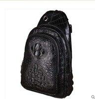 lukani All crocodile skin breast bag men's casual shoulder bag crocodile leather purse shoulder slanted shoulder slanting male b