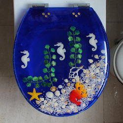 42*36CM wysokiej jakości głęboki błękit piękny żywiczny pokrowiec na deskę sedesową