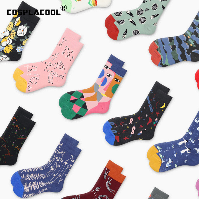 [COSPLACOOL]Abstract Animal Novelty Socks Men Cotton Happy Funny Socks Dress Colorful Wedding Socks Clacetines Hombre Divertidos
