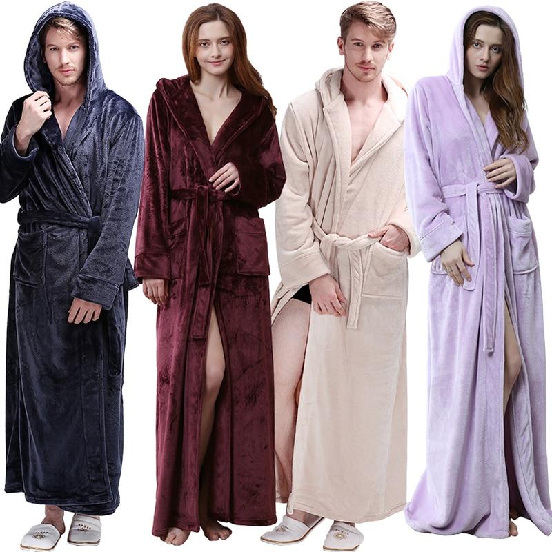 Femmes hommes hiver à capuche Extra Long épais chaud flanelle Robe de bain de luxe thermique peignoir doux soie Robe de chambre Robes de demoiselle d'honneur