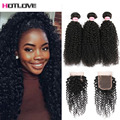 8A Malaysian Kinky Curly Virgin Hair With Closure 3 Bundle Deals Virgin Hair With Closure Hot Human Hair With Lace Closures