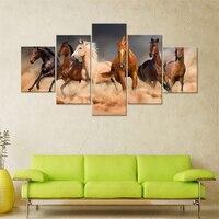 5 개 말 사진 캔버스 회화 벽 예술 인쇄 홈 장식 거실