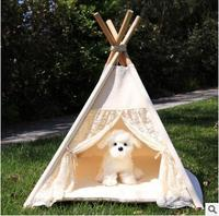 2017 New Creative White Tents For Dog Pet Portable Foldable Cute Wooden Dogs Pet Tent Tents