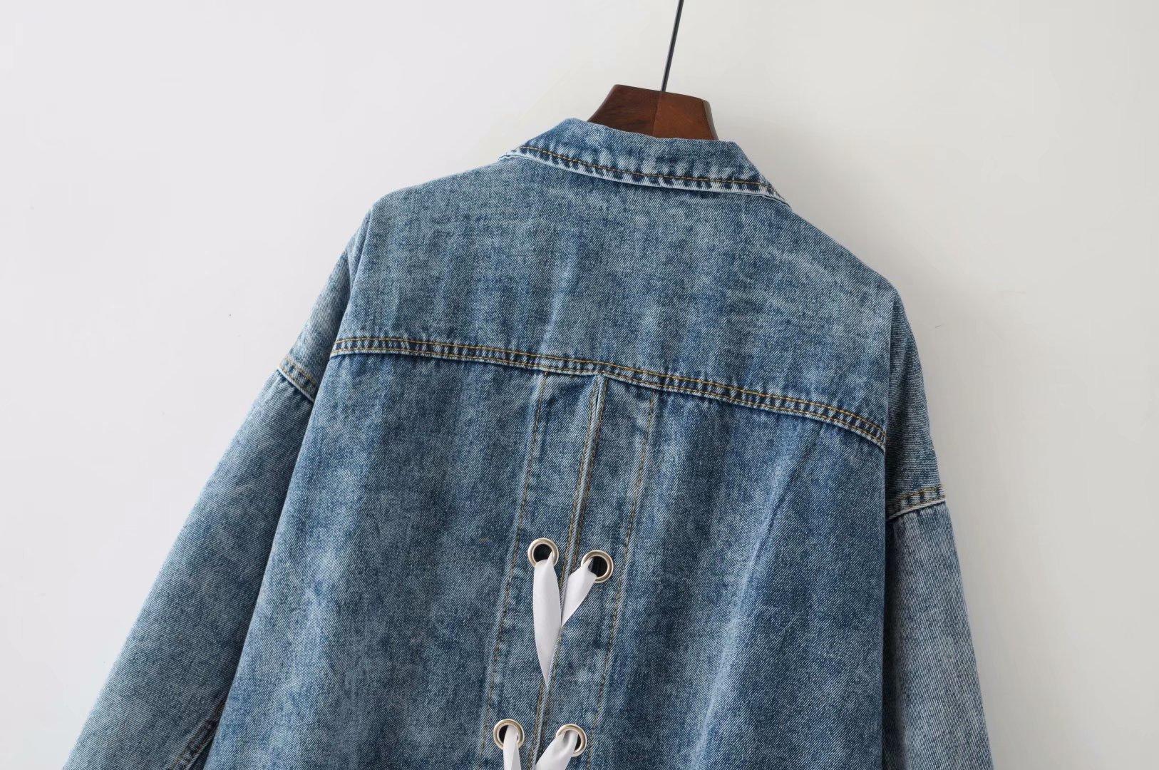 Abbigliamento Primavera Lunga Denim Manica Del Casual 358 Lace Split Allentato Più Di Blu Torna Il 2019 Donne Up Formato Giacca L2 Delle Modo Cappotti Iw8zxnZq