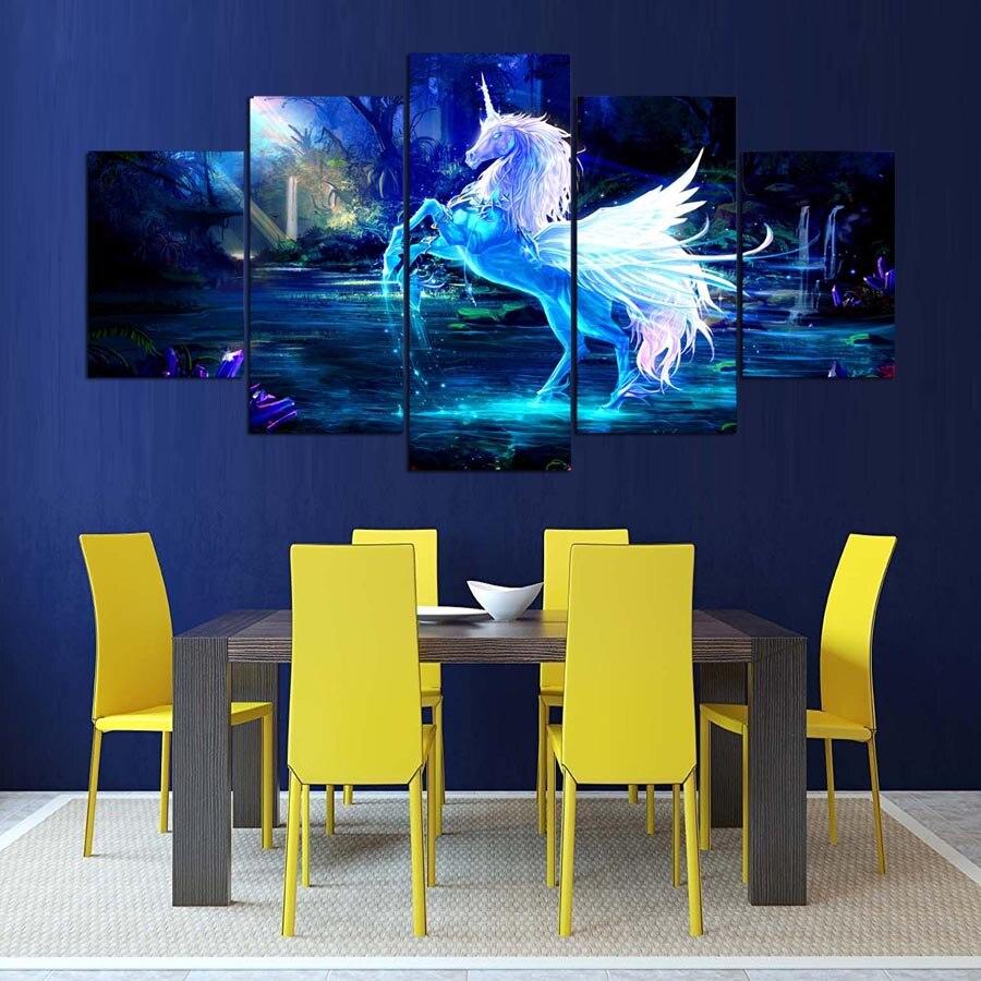 5 panel Moderne hd einhorn kunstdruck leinwand kunst wand gerahmte ...
