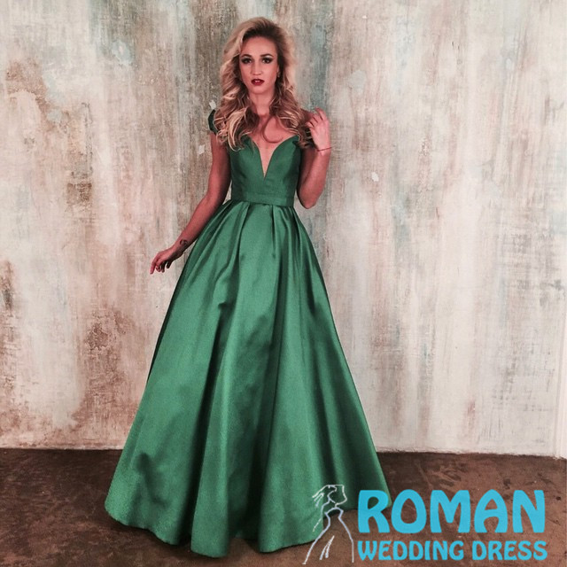 Green Satin Ball Gown