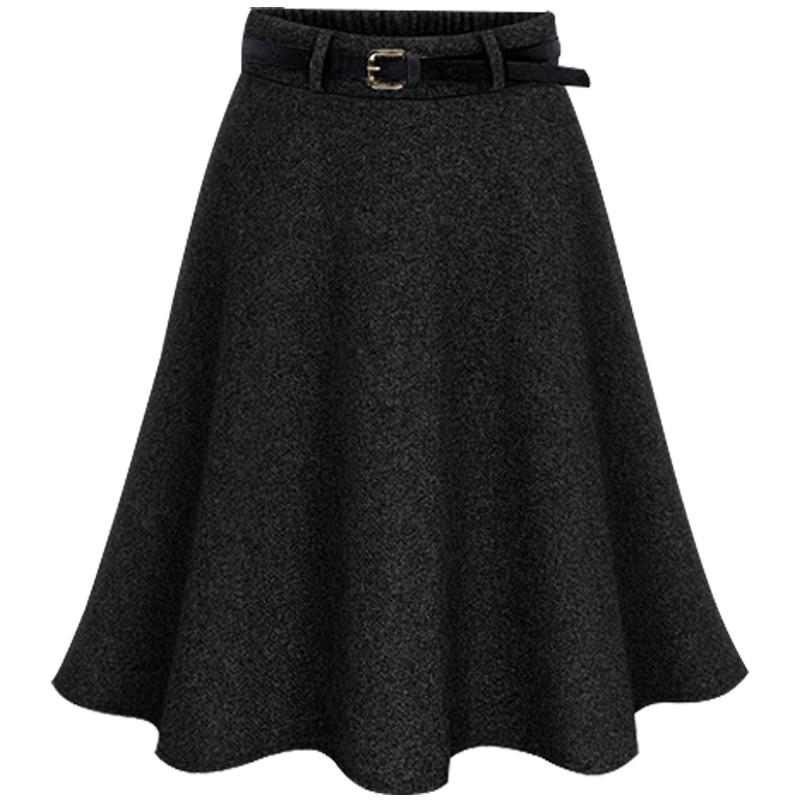 Plus Size Women Fall Winter Belt High Waist Skirt Empire Formal A-line Elegant Female Woolen Skirt Knee Length Suit Big Size 6XL