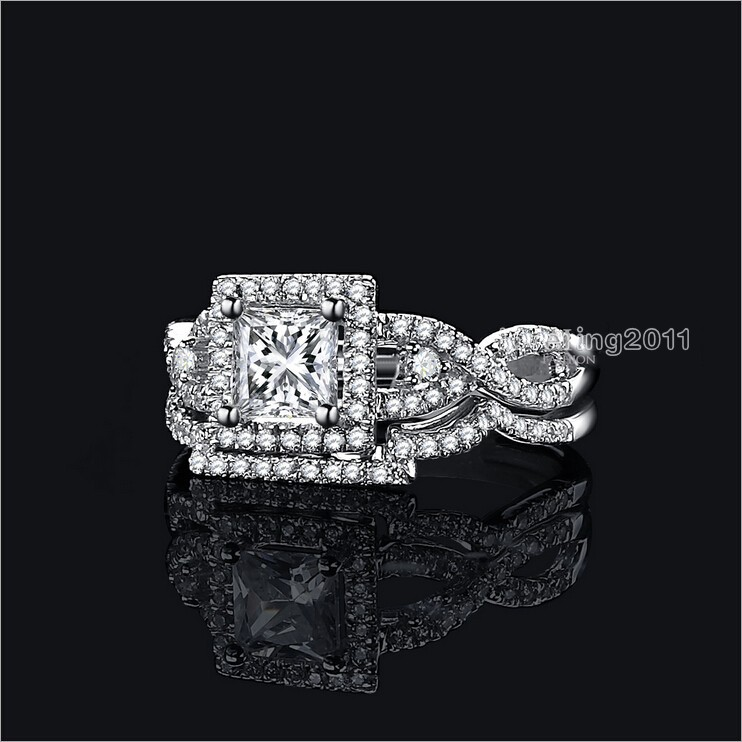choucong valuable princess cut diamonique cz 925 sterling silver wedding band ring set sz 5 - Diamonique Wedding Rings