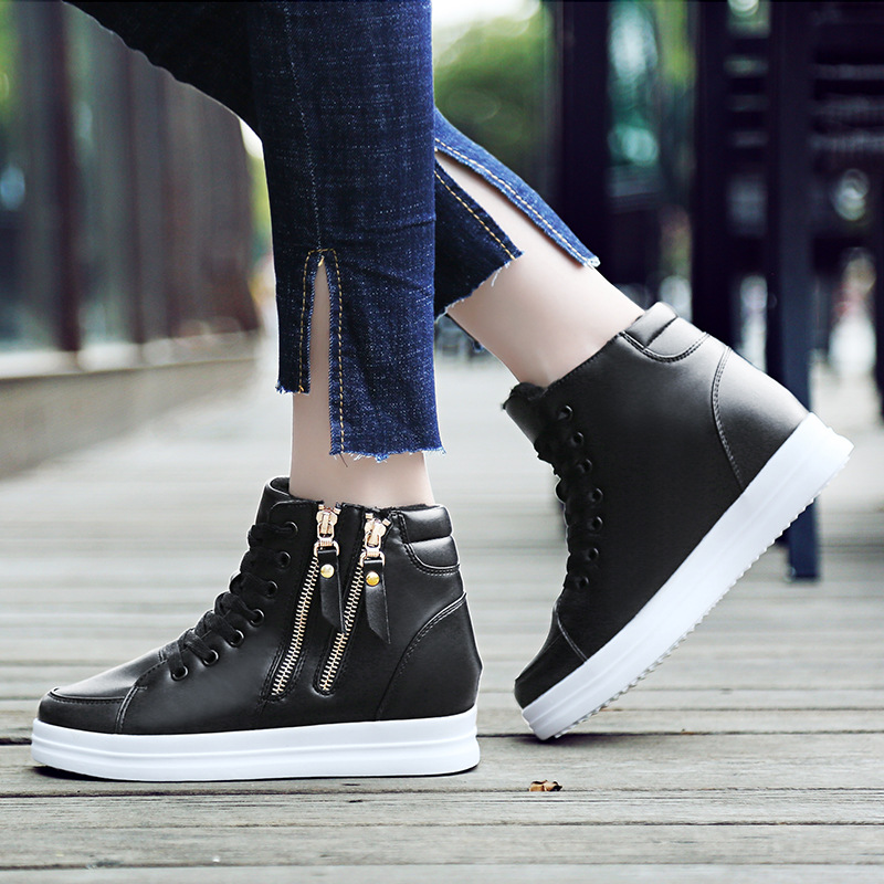 Image 5 - SWYIYV White Shoes Woman High Top Spring Autumn 2018 Female Fashion Casual Shoes Zipper Hided Wedge Lady Sneakers White ShoesWomens Vulcanize Shoes   -