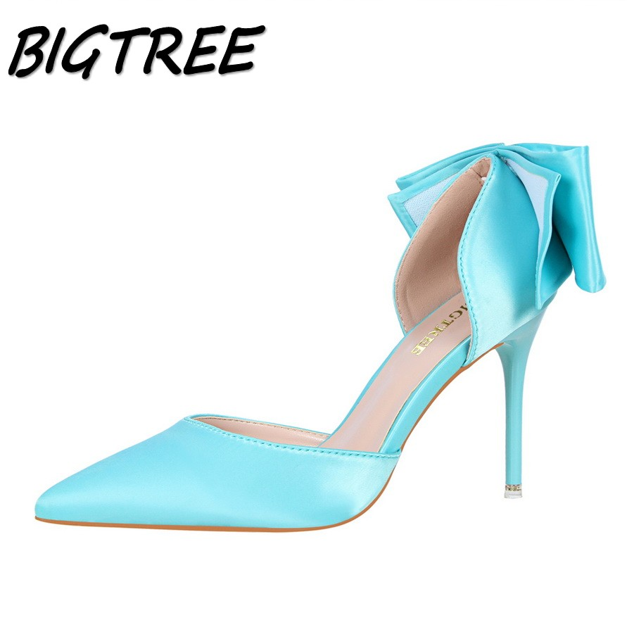 BIGTREE new women pointed toe High heel shoes woman silk shallow pumps Fashion ladies back Butterfly-knot Sexy stilettos shoes bigtree summer fashion women high heels sandals suede shallow mouth pointed pearl ladies sandals sexy wedding red woman shoes