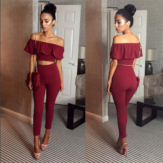 d1a2d65ee562 2018 Women Yoga Set Sexy Ruffles Two Piece Outfits Crop Top And Long Pants  2 Piece