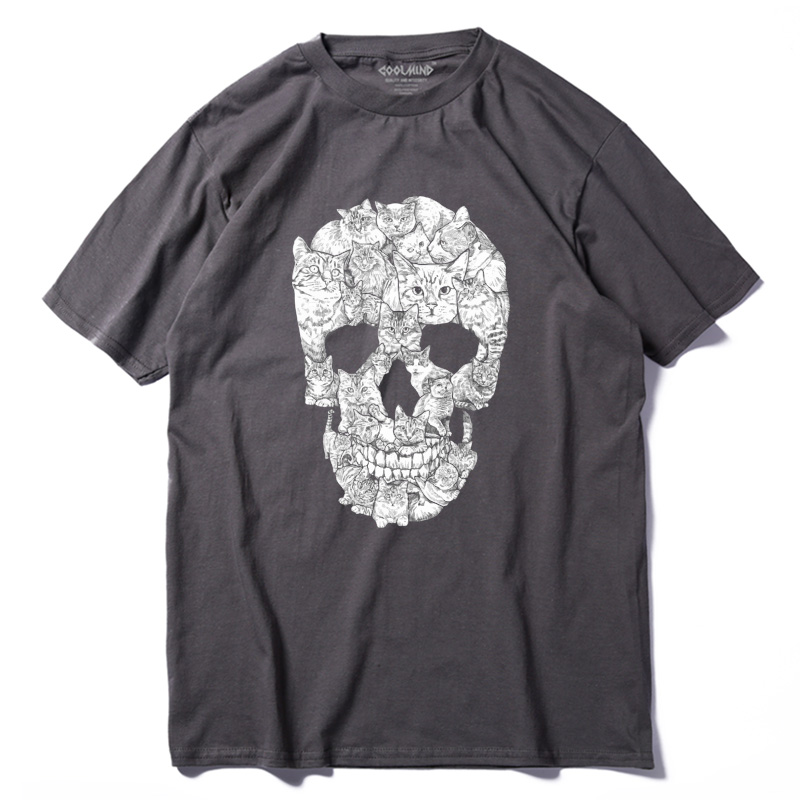 THE COOLMIND casual short sleeve loose cotton mens tshirt new design street style loose cool skull printed men T shirt QI0229A