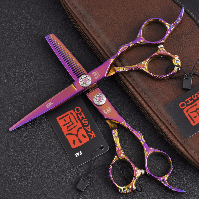 Purple Dragon 6.0'' professional pink fairy handle fine polished stainless steel hair clippers for barber or home use