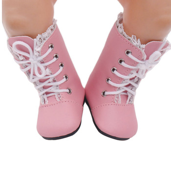 43 cm baby dolls shoes new born stylish pink boot lace-up shoes PU Baby toys fit American 18 inch Girls doll g56 недорого