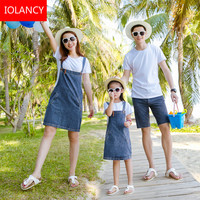 2pcs Mother Daughter Dress Family Matching Clothing Set T Shirt+Denim Skirt Jeans Mother and Daughter Father Son Clothes CC748