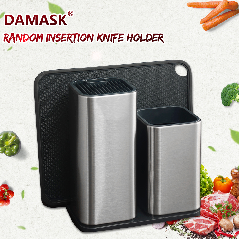 DAMASK Stainless Steel Knife Holder Multifunctional Kitchen Stand Fit To Santoku Slicing Bread Paring Knives Chef Kitchenware