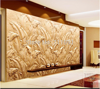 Free Shipping Customized Modern Large Banana Leaf Mural Sandstone Relief Backdrop Wallpaper Bedroom Living Room TV