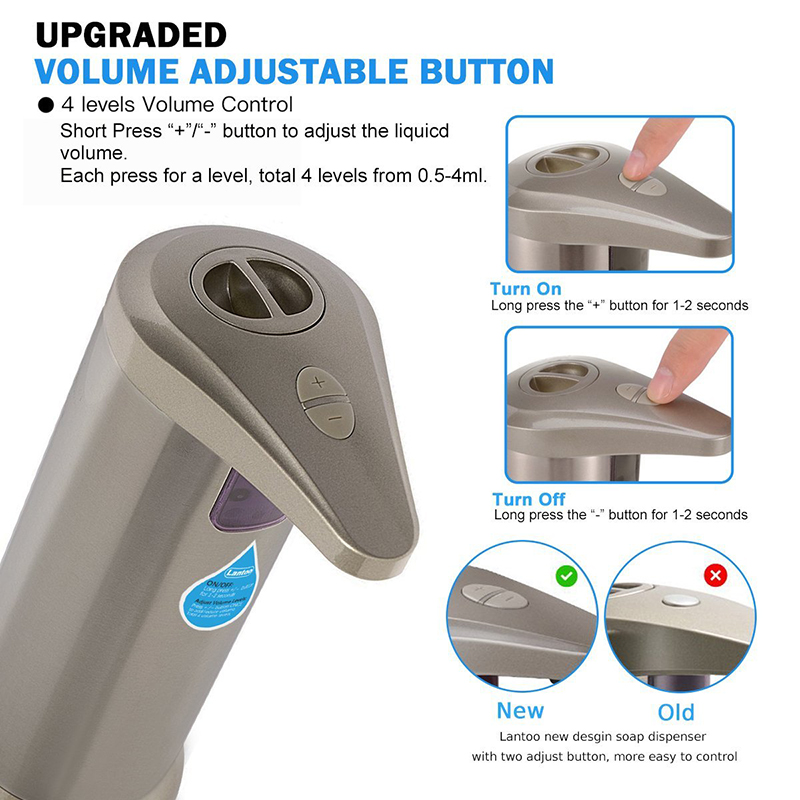 Quyanre Automatic ABS Electroplate Soap Dispenser Built-in infrared Sensor Infrared Handfree Sanitizer Soap Dispenser1