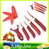Free shipping 5pcs Zirconia kitchen Ceramic fruit Knife Set Kit 3 4 5 6 with Flower printed+ Peeler+Covers