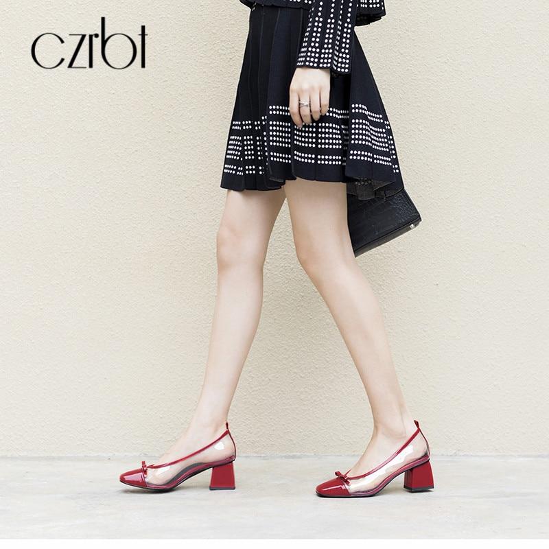 CZRBT/Летняя женская обувь на плоской подошве; повседневные Лоферы без застежки; женская обувь с острым носком; прозрачные босоножки из пвх; 2018; женская кожаная обувь - 5