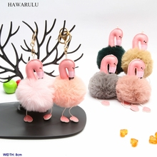 HAWARULU 2pcs 8cm DIY Creative flamingo imitation rabbit fur car pompom key bionic pompon christmas gift fetival handmade
