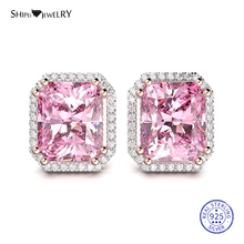 Shipei Princess Square Stud Earrings for Women 100% 925 Sterling Silver Sapphire Ruby Emerald Wedding Earrings Fine Jewelry Gift new arrival sterling silver 925 emerald earrings silver square openwork green zircon stud earrings for women palace jewelry gift