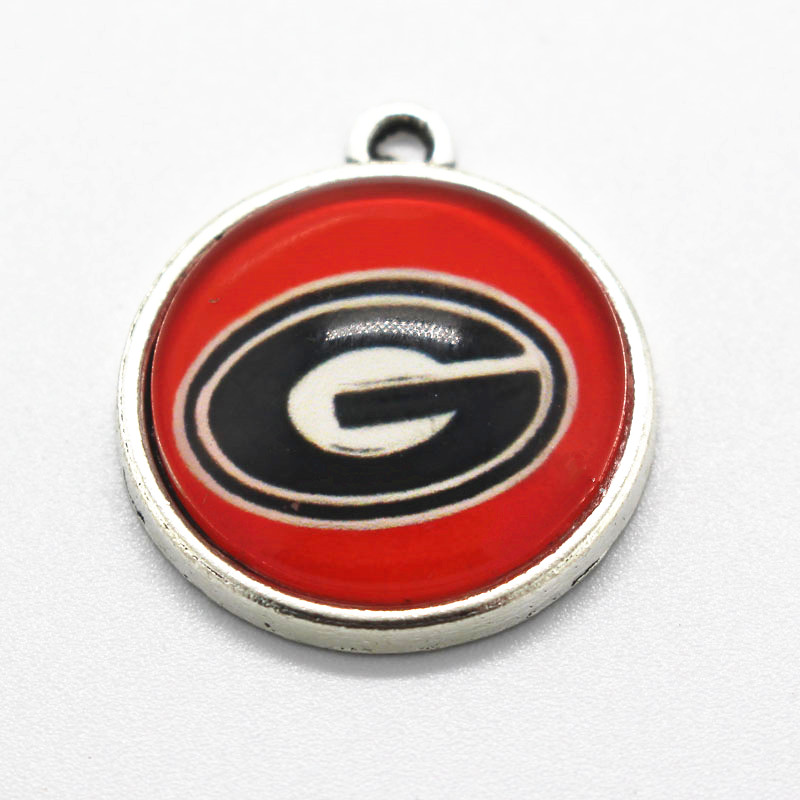 Hot Selling NCAA 10pcs/lot Sport Georgia Bulldogs Football Floating Charms Glass Pendant Morking Jewelry Bangles Necklace ...