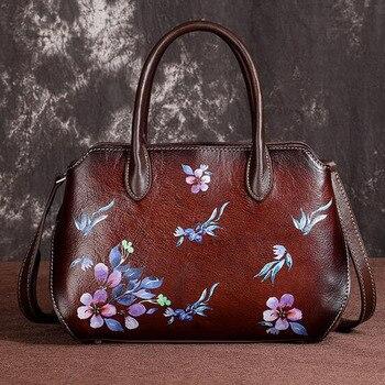 Genuine Leather Top Handle Cross Body Bag  Embossed Pattern Tote Vintage Women Real Cowhide Messenger Shoulder Bags