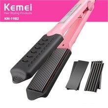 Big discount Hair Curler Straightening Iron & Curler Styling Tool Pranchas De Cabelo Curling Irons KeMei 2 IN 1 Hair Straightener