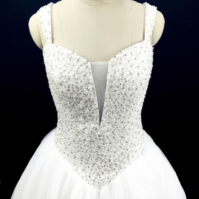 Glitter African Style Princess Wedding Dresses Ball Gown Rhinestone Pearls Trouwjurk Crystal Bride Dress Corset Straps