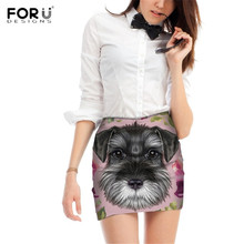 FORUDESIGNS Cute Schnauzer Puppy Printing Women Skirts Ladies Funny Design Mini Pencil for Females Kawaii Pattern Bottoms