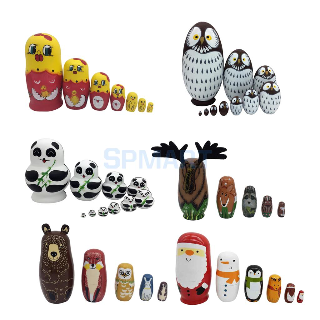 Pack of 5/6/7/10Pcs Cute Wooden Animals Hand Painted Russian Nesting Dolls Babushka Matryoshka Dolls Toys Gifts Home Decoration jennifer taylor home sofa bed hand tufted hand painted and hand rub finished wooden legs 65000 584 859 865