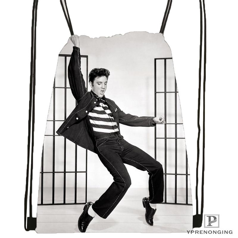 Custom Elvis Presley Drawstring Backpack Bag For Man Woman Cute Daypack Kids Satchel (Black Back) 31x40cm#180531-01-14