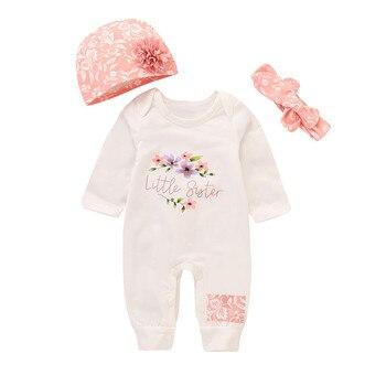 67b2161d6 Bebé niñas niños carta impresión mono mameluco Animal diadema trajes  conjunto ropa de bebé recién nacido ropa de bebé