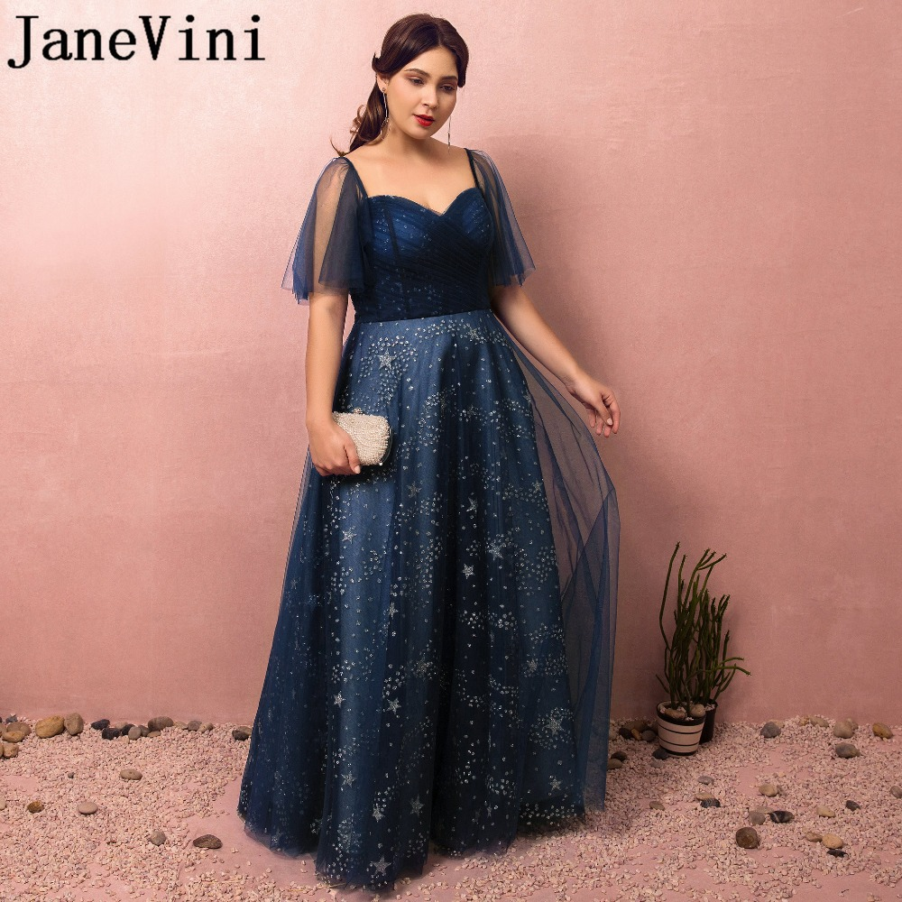 JaneVini 2018 Navy Blue Charming Long   Bridesmaid     Dresses   Plus Size Star pattern Lace-up Back Floor Length Wedding Guest   Dresses
