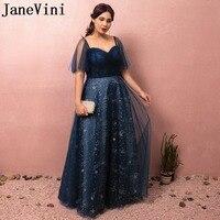 JaneVini 2018 Navy Blue Charming Long Bridesmaid Dresses Plus Size Star pattern Lace up Back Floor Length Wedding Guest Dresses
