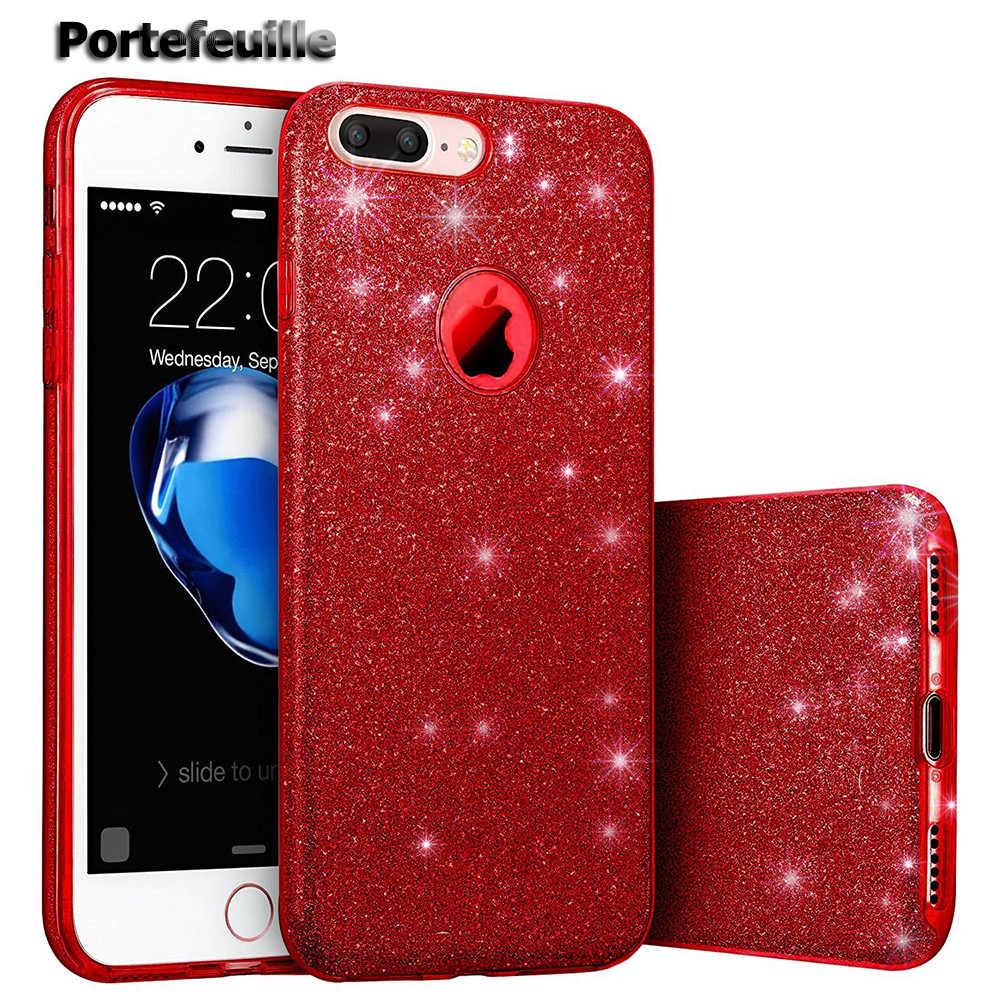 8f070b486707e4 Portefeuille For iPhone 7 Plus Case Sparkle Shinning Protective Bling  Glitter Phone Case Cover For iPhone