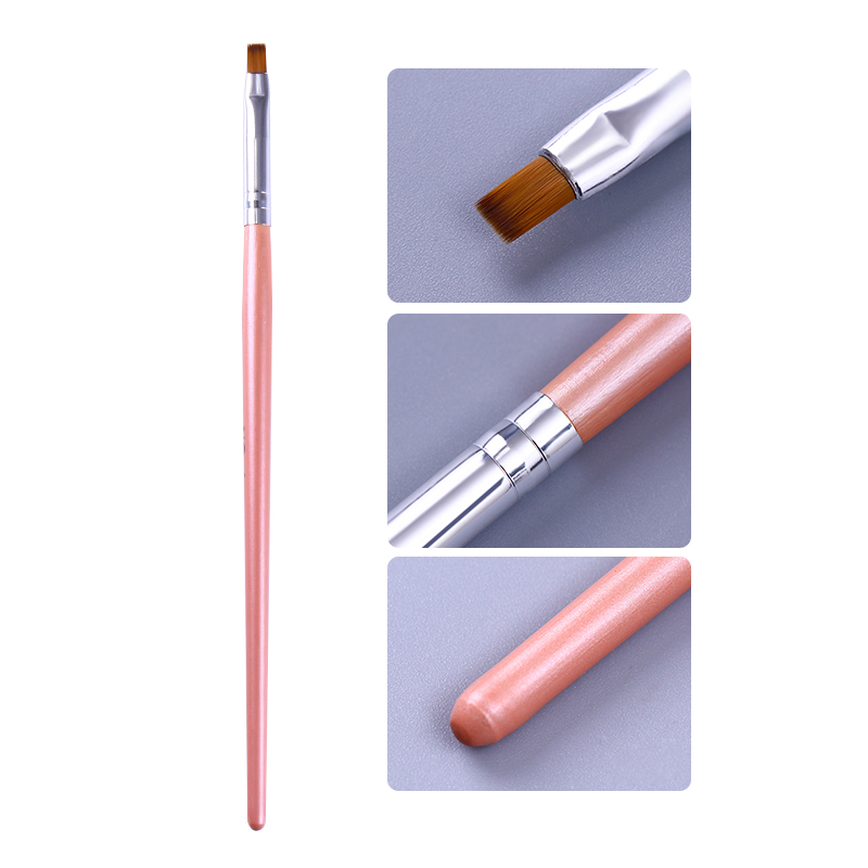Painting Brush UV Gel Remover Pen Pink Handle Powder Clean Nail Edge Cuticle Cleaner Manicure Nail Art Tool