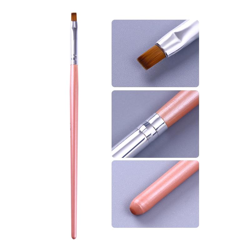 Painting Brush UV Gel Remover Pen Pink Handle Powder Clean Nail Edge Cuticle Cleaner  Nail Art Tool