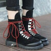 Combat Boots Woman Winter Shoes Metal Decoration Short Plush Wedges Snow Boots Lace Up Flock Ankle