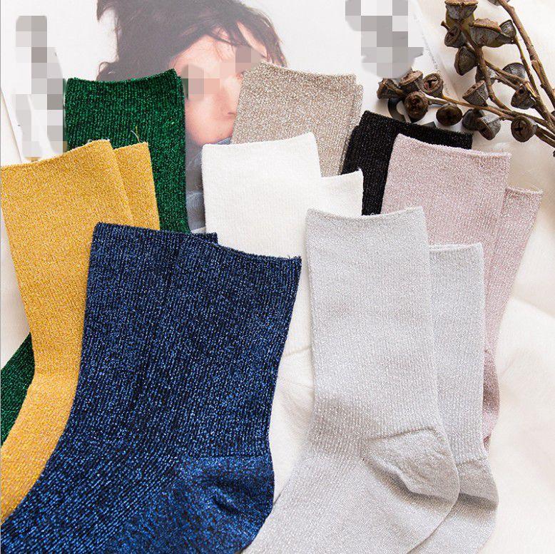 1 Pair Hot Sale 2018 Shiny Long   Socks   Autumn and Spring New Fashion Glitter Harajuku Soft women Elastic Hosiery