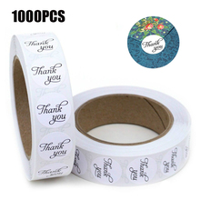 1000PCS Round 1inch Heart Shape Kraft Paper Adhesive Label Thank You Sticker Seal Labels for Wedding Decoration Craft Stickers
