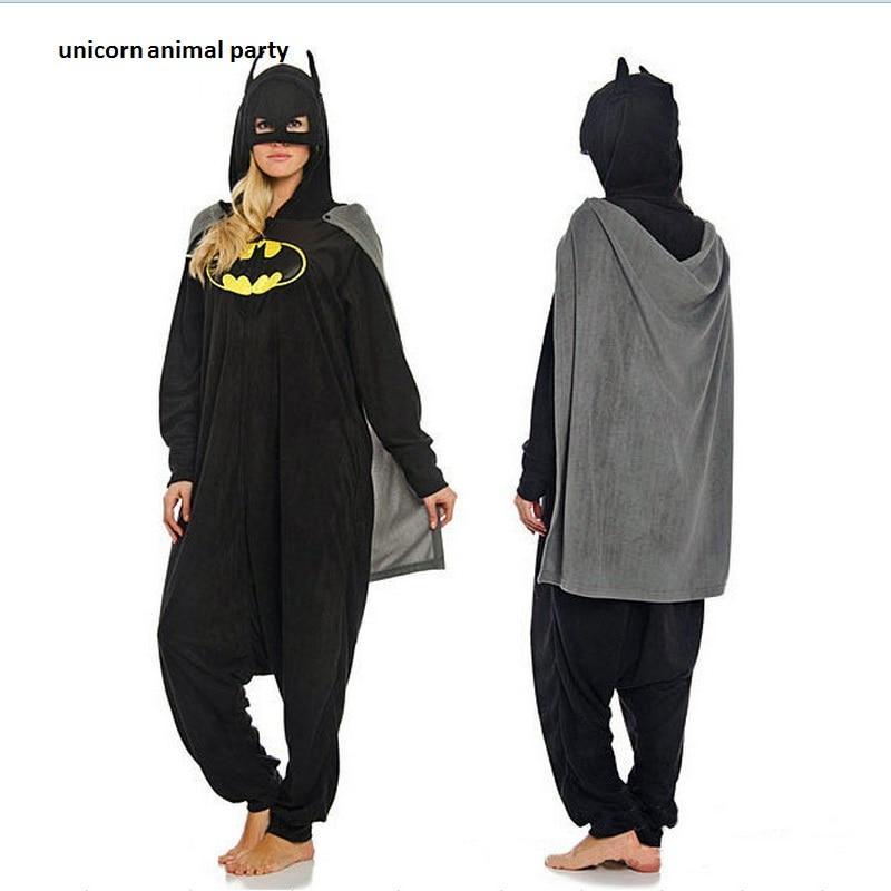 Adult Cartoon New Batman Onesie Pajamas Anime Cosplay Costumes Unisex Winter Animal Sleepwear Party Pyjamas