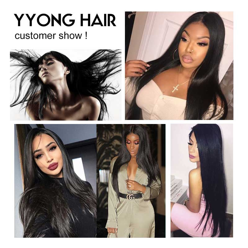 YYong Brazilian Straight Hair 4 Bundles With Frontal 100% Human Hair With 13*4 Free Middle Part Ear To Ear Lace Frontal Non Remy