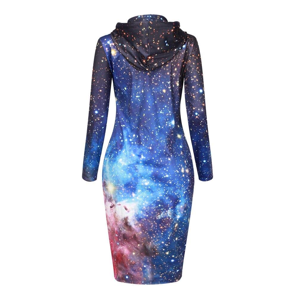 Capuchon Hoodies Bleu Robe shirt Longues Poche Avec Femmes À Brillant Partie Istider Robes Sweat Mince Manches Galaxy Sexy D'hiver Nouveau YwqxSz