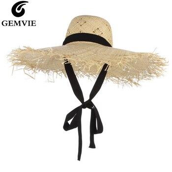 e36d7940 GEMVIE nueva moda verano sombreros para las mujeres padre-hijo Simple paja  sombrero negro cinta de playa de Boater de sol Mini sombrero Fedora Panamá