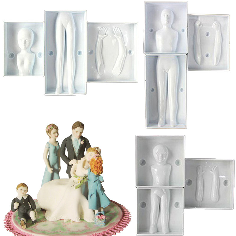 3D Dolls Human Body Model Soap Polymer Clay Mold Fondant Cake Decor DIY Choclate Baking Tool Plastic Men Women Children Mould