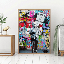 Einstein Love Is The Answer By Banksy Watercolor Art Canvas Poster Painting Wall Picture Print Home Bedroom Decoration Framework