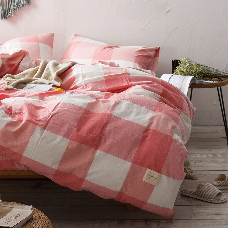 Pink White Plaid Pattern Bedding Set Cotton 3/4pcs Family Set Include Bed Sheet Duvet Cover Pillowcase Room Decoration BedspreadPink White Plaid Pattern Bedding Set Cotton 3/4pcs Family Set Include Bed Sheet Duvet Cover Pillowcase Room Decoration Bedspread